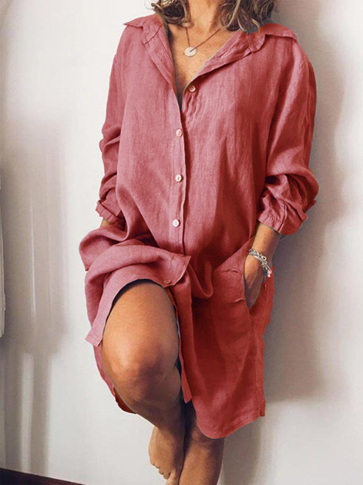 Casual V Neck Long Sleeve Solid Dresses