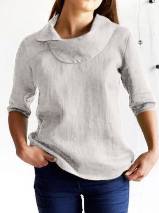 3/4 Sleeve Linen Cowl Neck Shirts & Tops