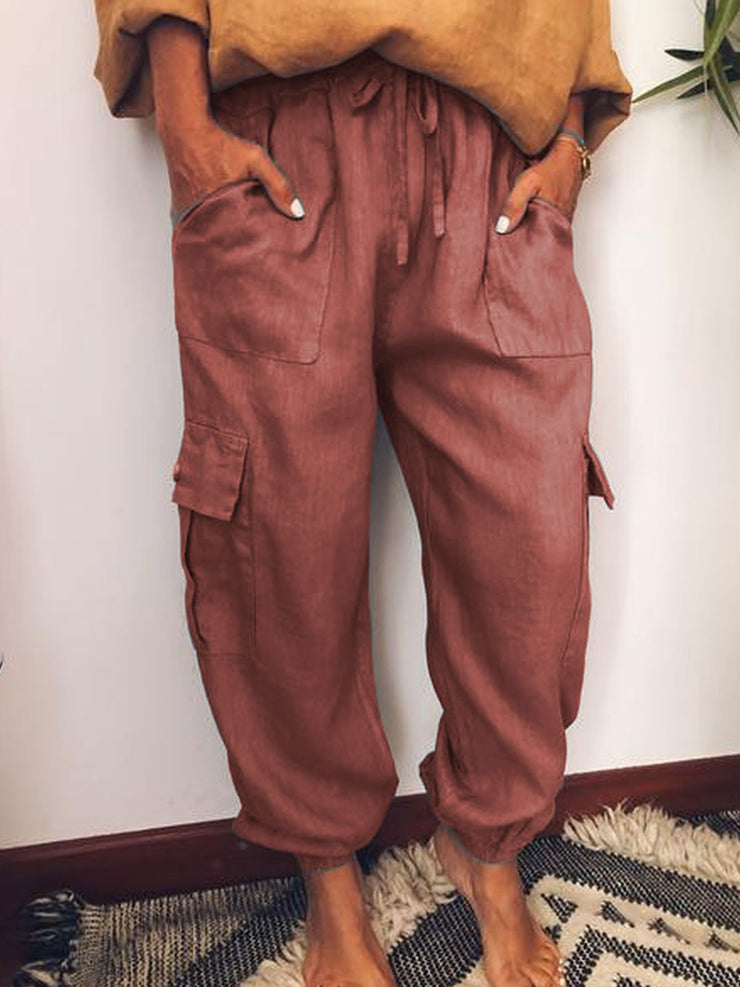 Casual Pockets Cotton-Blend Pants