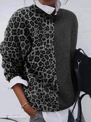 Khaki Leopard Print Long Sleeve Sweater