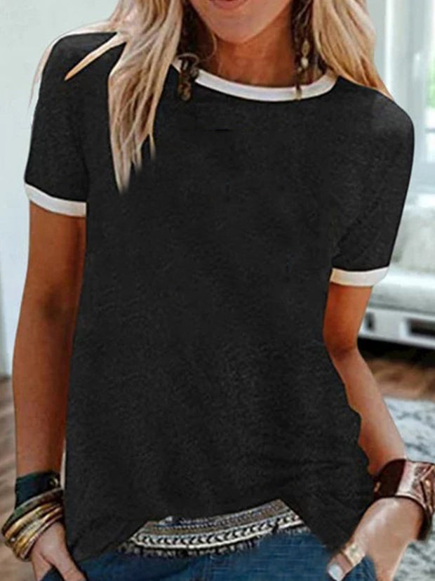 Vintage Short Sleeve Plain Plus Size Casual Tops