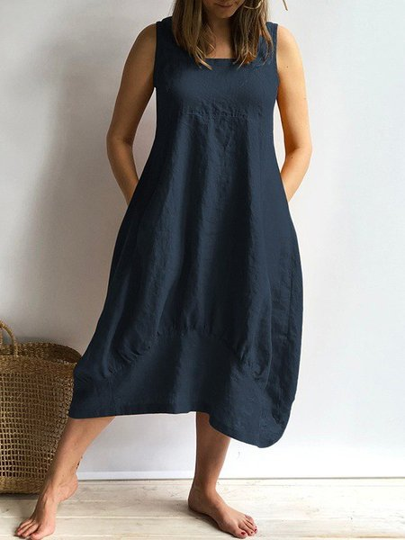 Sleeveless Solid Plus Size Dresses