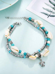 Blue Alloy Casual Anklets