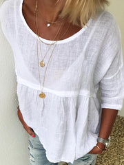 White Casual Solid Shirts & Tops
