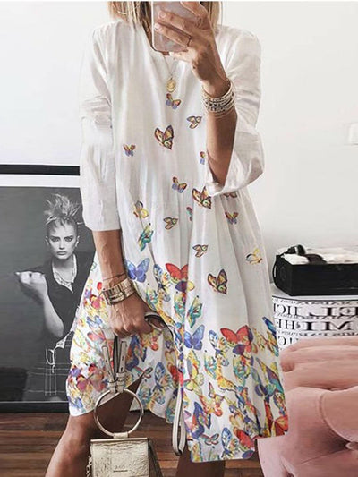 3/4 Sleeve Casual Printed Dresses