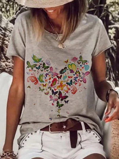 Casual Short Sleeve Printed Shirts & Tops