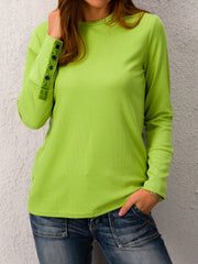 Solid Crew Neck Casual Long Sleeve Sweater