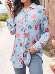 Blue Cotton Casual Shirts & Tops