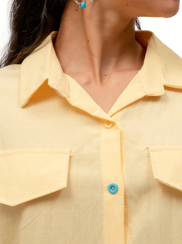 Yellow Casual Cotton Shirts & Tops