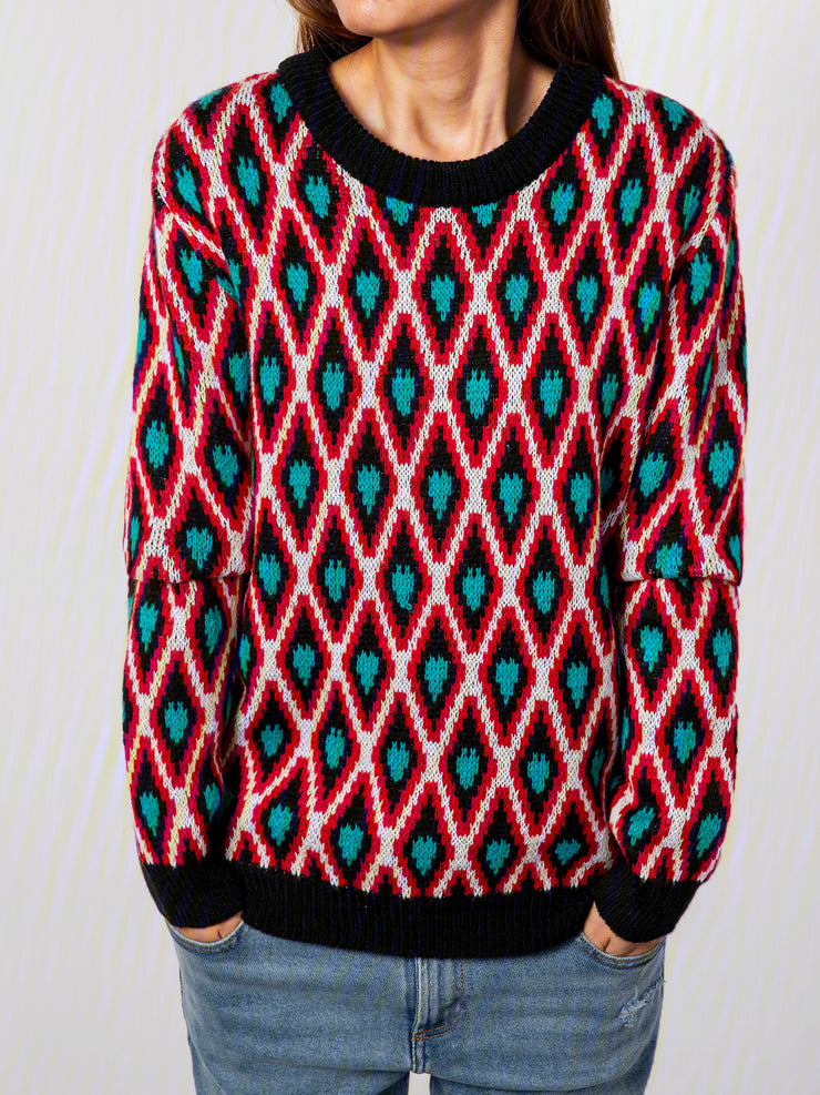 Red Checkered/plaid Knitted Vintage Cotton-Blend Sweater