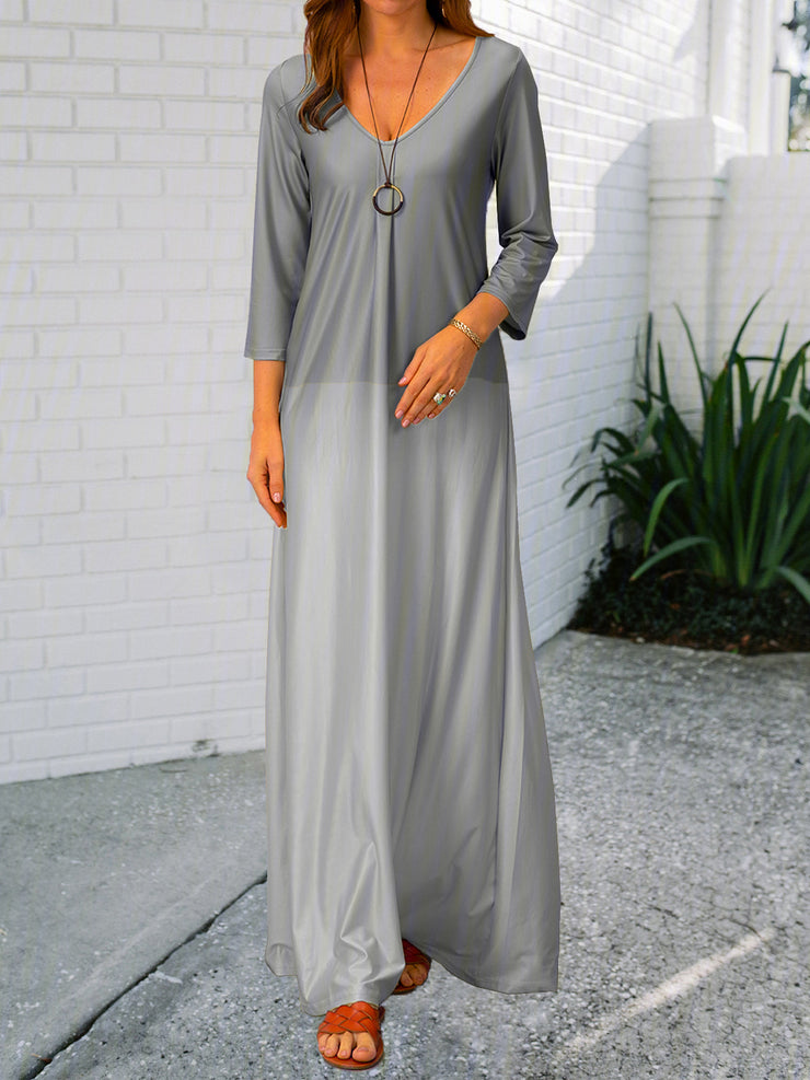 Graphic Printed Casual V-neck Long Sleeve Maxi Dress