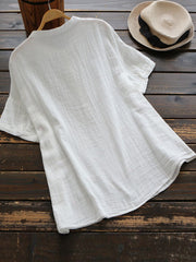 White Casual V Neck Shirts & Tops