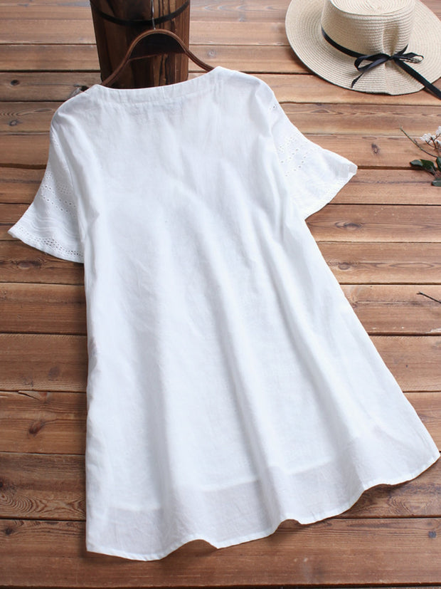 White Hollowed Plain Round Neck Casual Shirts & Tops