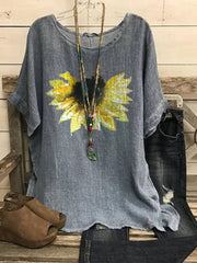 Gray Cotton-Blend Floral Casual Crew Neck Shirts & Tops