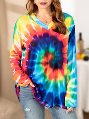 Long Sleeve V Neck Ombre/tie-Dye Cotton-Blend Shirts & Tops