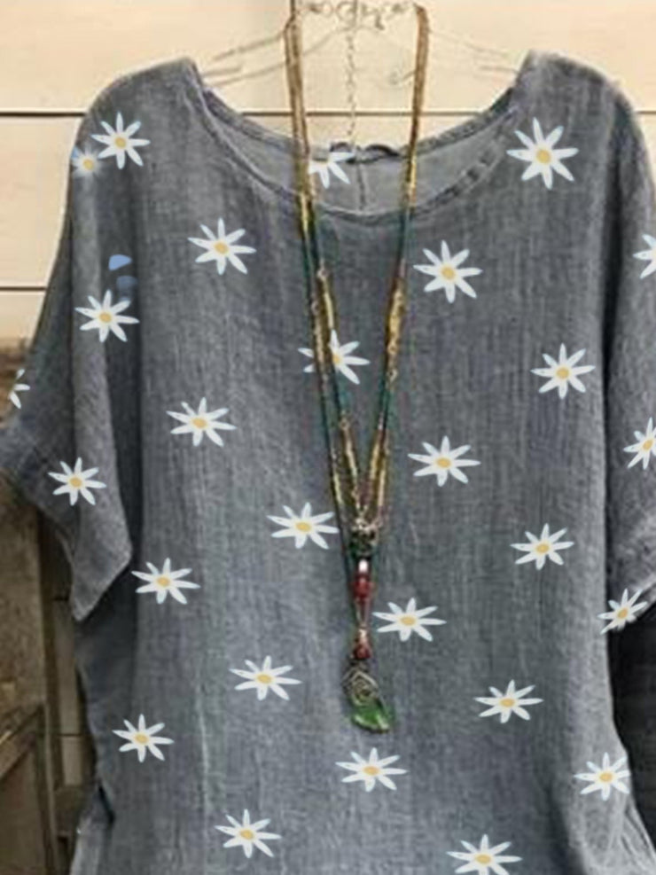 Gray Round Neck Printed Casual Shirts & Tops
