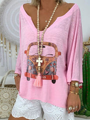 Long Sleeve V Neck Printed Shirts & Tops