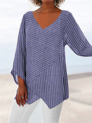 Striped Long Sleeve V Neck Cotton-Blend Shirts & Tops