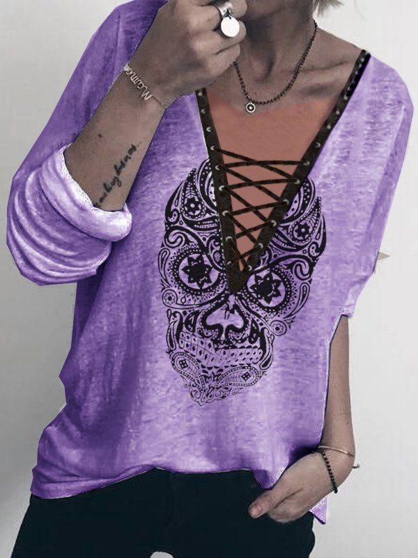 Women's Casual Long Sleeve V Neck Lace-up Tops