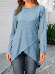 Crew Neck Solid Casual Shirts & Tops