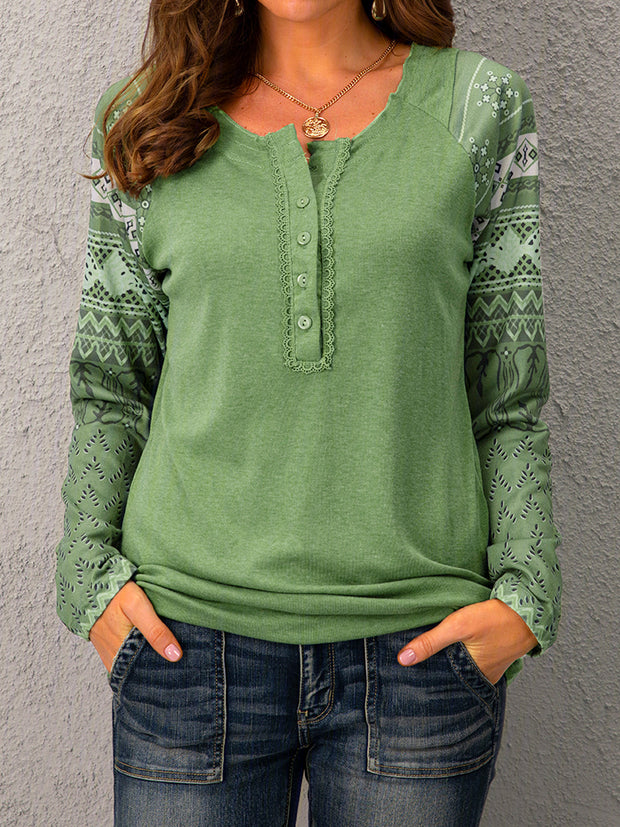 Long Sleeve Cotton V Neck Tops