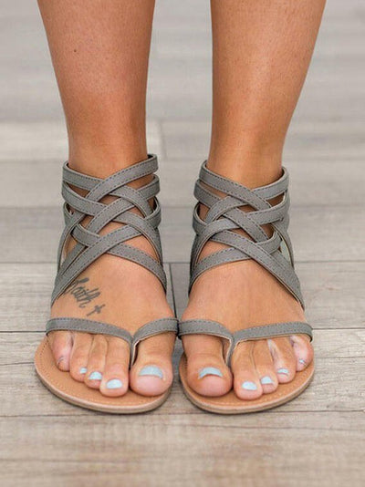 Cross Tied Strap Flip Flop Gladiator Sandals