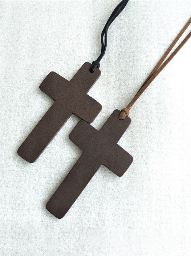 Vintage Wood Cross Necklace
