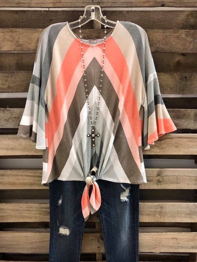 Striped Half Sleeve Cotton Shirts & Tops