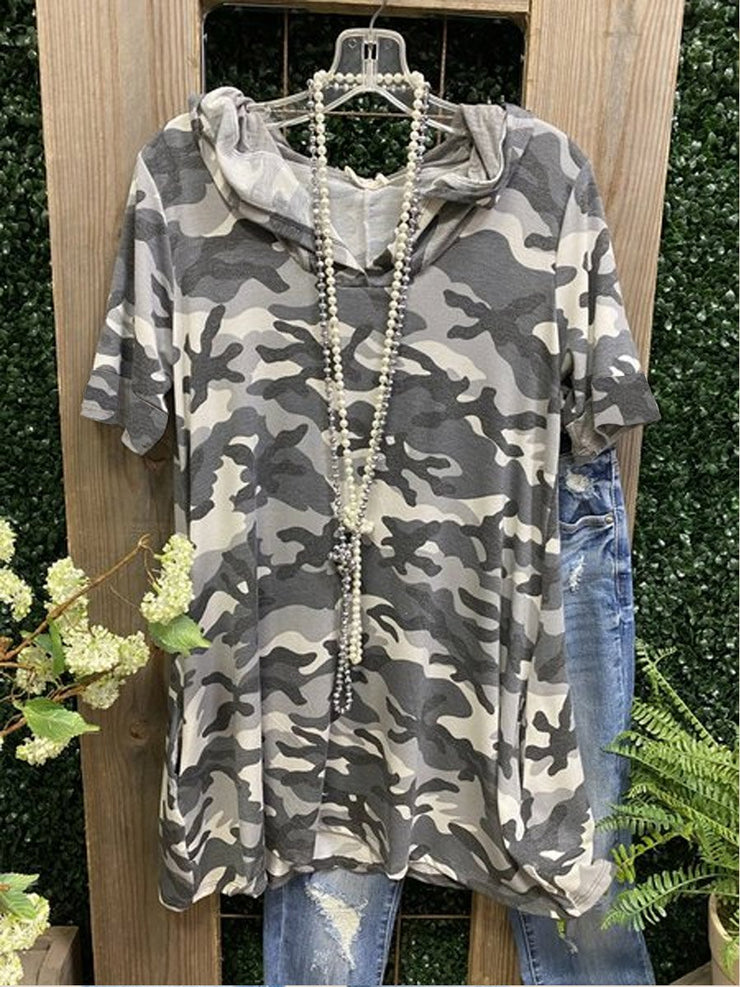 Camouflage Short Sleeve Cotton-Blend Shirt & Top
