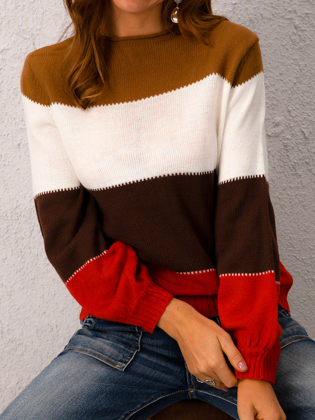 Plus Size Long Sleeve Colorblock Casual Sweater
