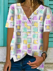 Cotton-Blend Printed Casual Short Sleeve Shirts & Tops