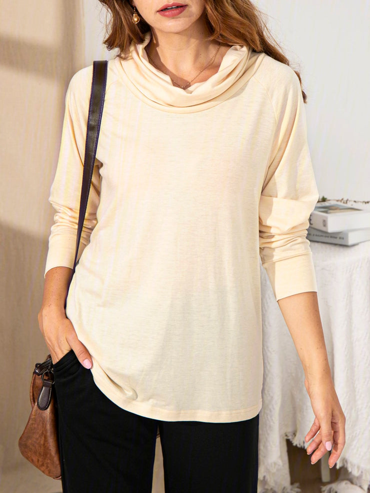 Ladies All-match Draped collar Top