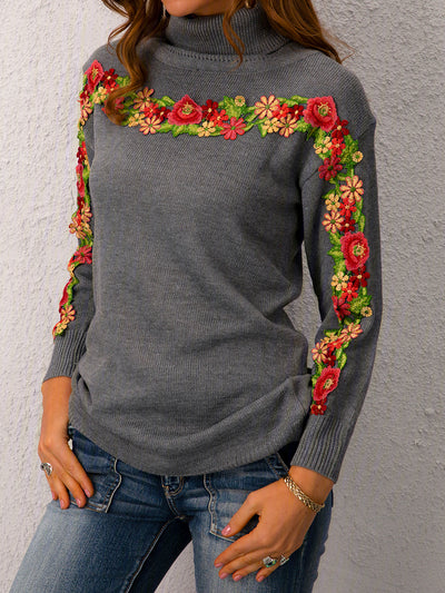 Casual Long Sleeve Plus Size Turtleneck Sweater