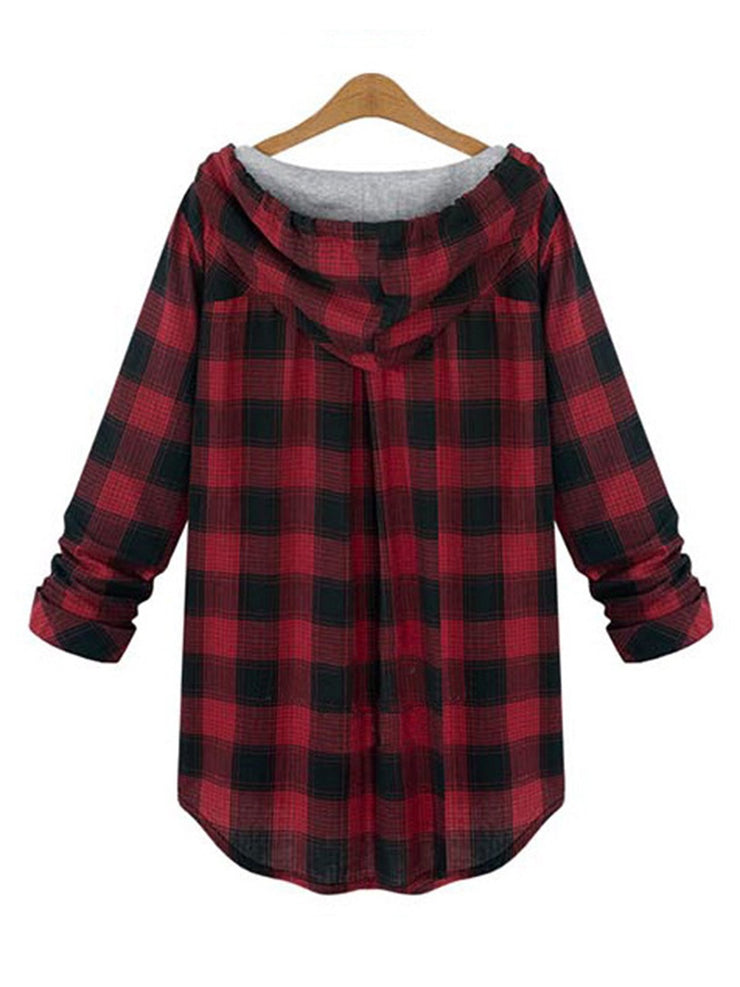 Detachable Buttoned Checkered/Plaid Long Sleeve  Hoodie