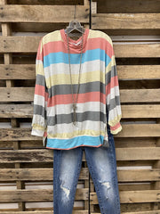 Rainbow Striped Round Neck Long Sleeve Top