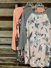 Floral Raglan Stitching Long Sleeve Top