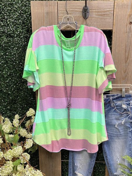 Cotton Striped Short Sleeve Casual Shirts & Tops