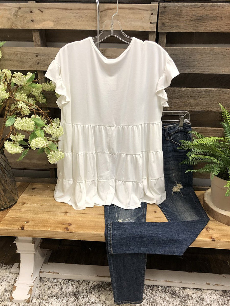 Stitched Laminated Ruffled Lady Top