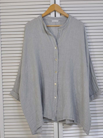 Gray Blue Buttoned Solid Long Sleeve Shirts & Tops