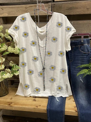 Cotton-Blend Floral V Neck Casual Shirts & Tops