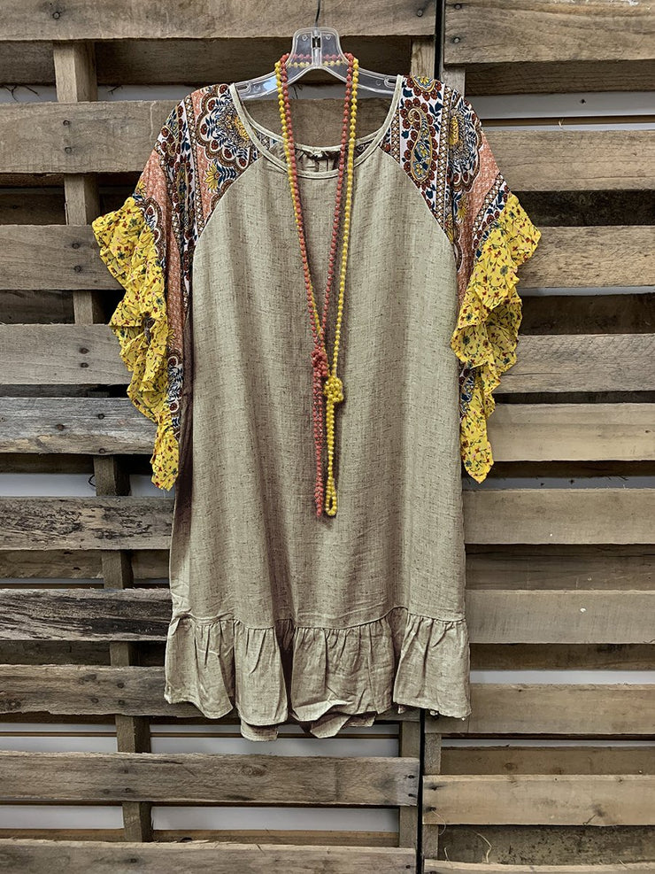 Bohemian Floral Ethnic Pattern Stitching Short Sleeve Top