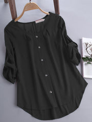 3/4 Sleeve Solid Casual Crew Neck Women Blouse