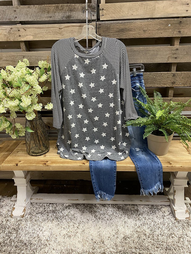 Star Stripe Long Sleeve Top
