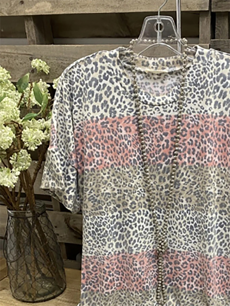Gray Casual Leopard Crew Neck Shirts & Tops