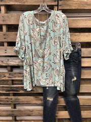 Feather Heart Print Casual Top