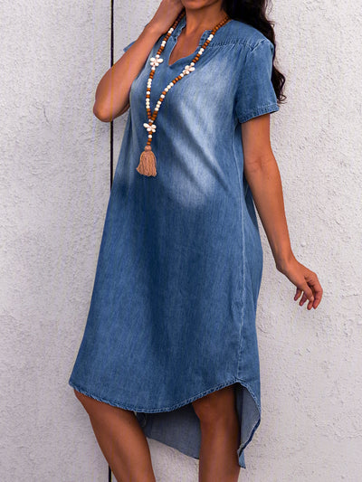 Casual V Neck Cotton-Blend Dresses
