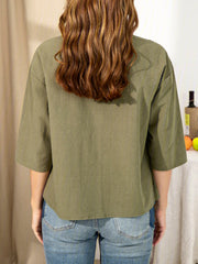 Cotton-Blend Sleeve Shirts & Tops
