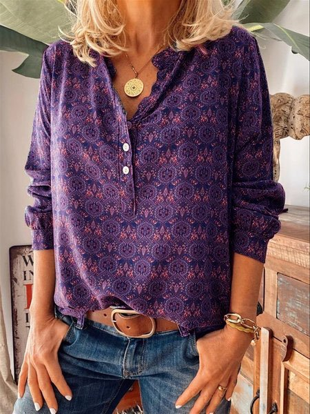 Floral Casual Printed Shirts & Tops