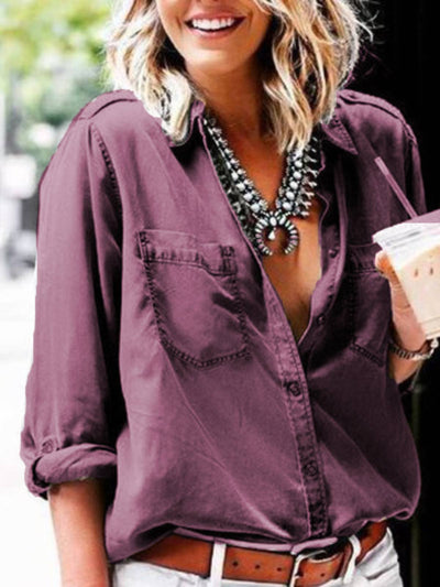 Cotton Plain Long Sleeve Shirts & Tops With Necklace