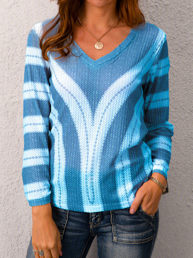 Plus Size Long Sleeve V Neck Geometric Casual Sweater